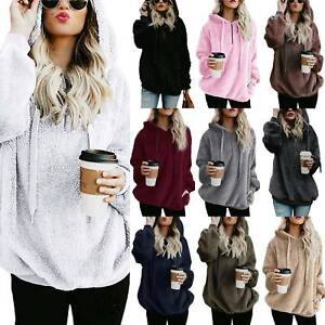 US-Ladies-Warm-Fleece-Hooded-Hoody-Sweatshirt-Hoodies-Womens-Winter-Jumper-Tops