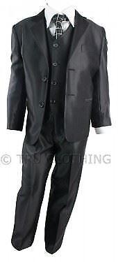 Enfants garçons 3 pièce costume noir lustré gilet blazer /& pantalon
