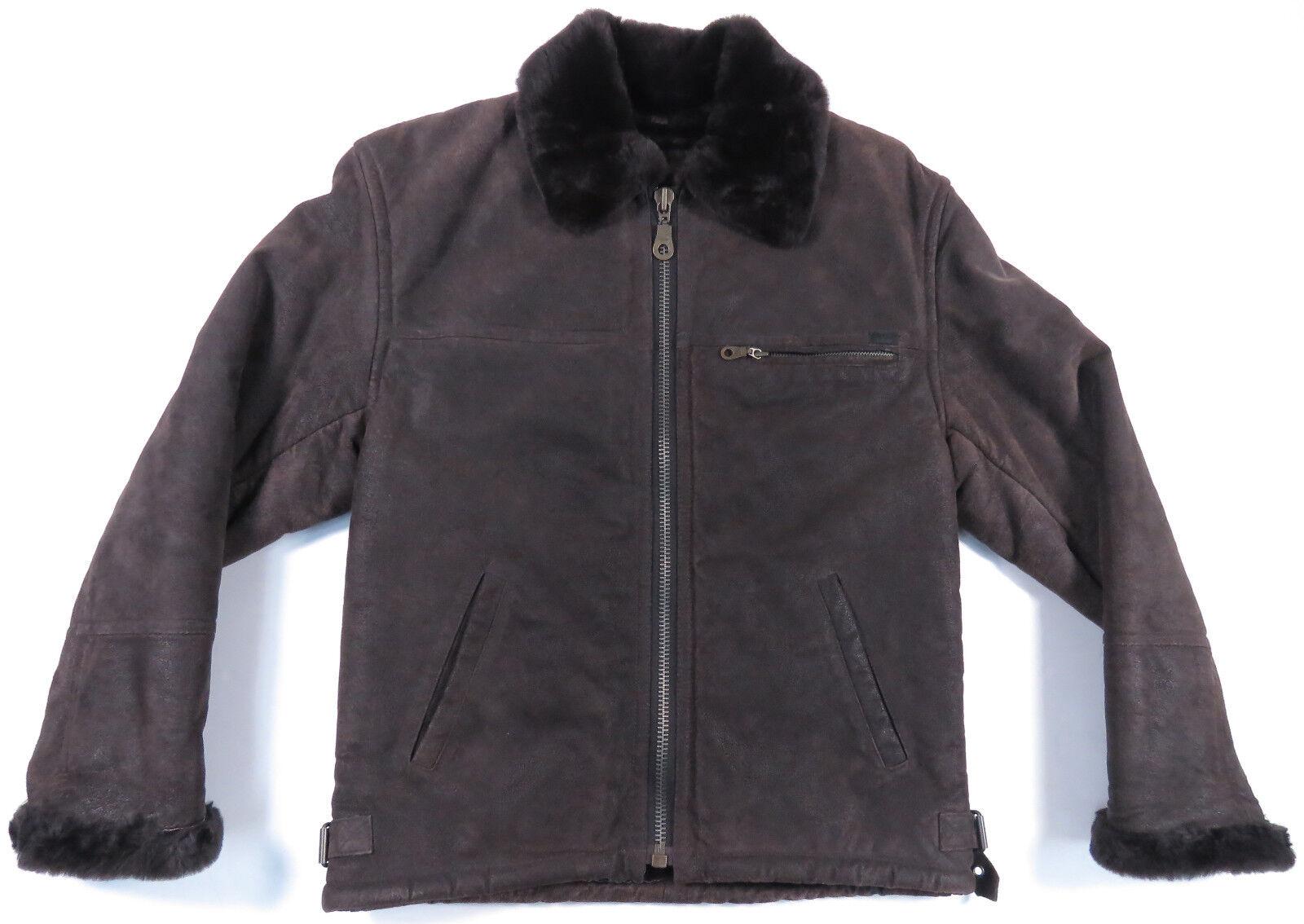 Guess Damen Braunes Braunes Braunes Leder Wildleder Pelz Gefütterter Kragen   Online einkaufen    Sehr gute Farbe    Günstige  565c99