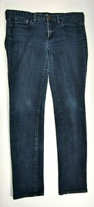J-Crew-Stretch-Womens-Size-30-Toothpick-Skinny-Dark-Wash-Blue-Denim-Jeans-EUC
