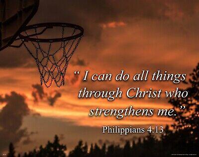 Religious Basketball Motivational Posters Art Print Kids Room Philippians 4:13