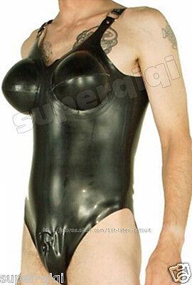 New100%Latex Rubber.45mm Catsuit Leotard Suit Bodysuit Inflatable Bust Hot Black