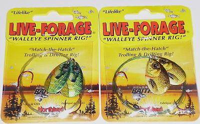 Lot of 2-Gold Sh//Blue Northland Tackle Live Forage Twin Spin Crawler Harnesses