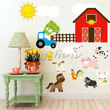 Farm Animal Wall Stickers House Nursery Baby Room Decal Mural Horse Car Home New