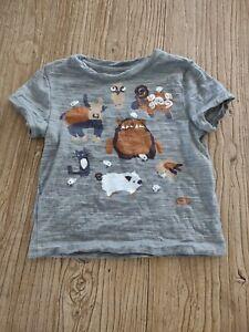 Icebreaker T Shirt Toddler Boys 2T Gray Merino Wool Short Sleeve Animals