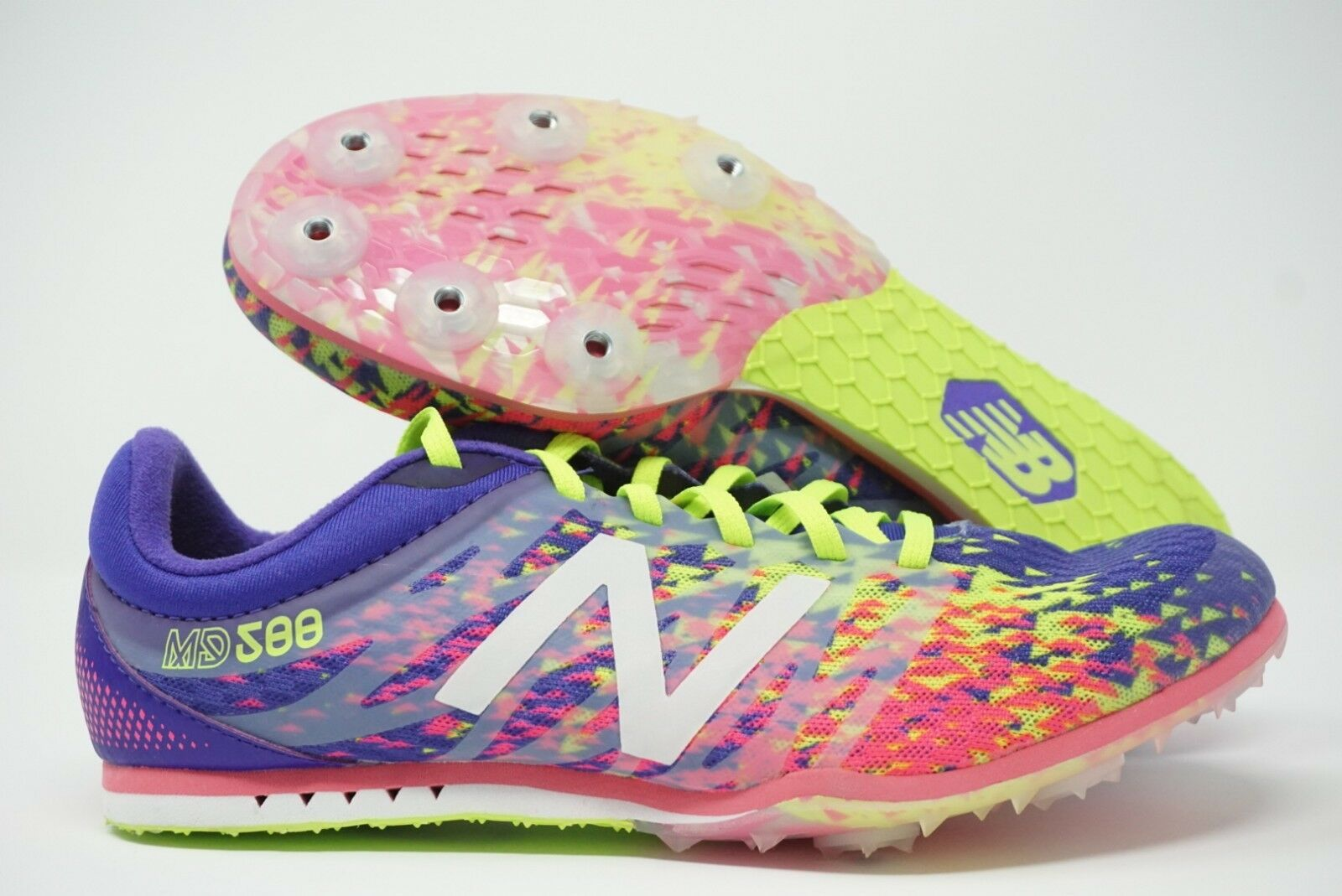 New Balance Mid Distance Track Spike Shoes Purple Pink Green Size 7.5 Womens