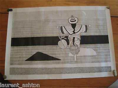 NIU WEN CHINESE WOODCUT SCARECROW MOON RARE HAND SIGNED 牛文 秋月 (木刻) 1984 山西灵石人