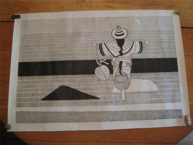 NIU WEN CHINESE WOODCUT SCARECROW MOON RARE HAND SIGNED 牛文 秋月 (木刻) 1984 山西灵石人