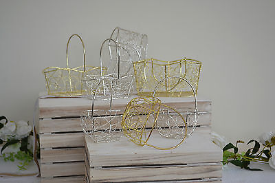 Pretty metal wire basket bag for bridesmaid or flower girl wedding bouquet posy