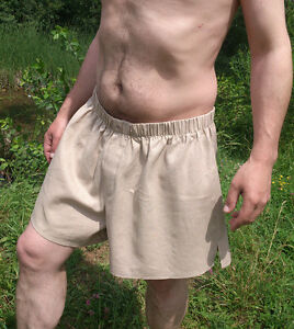 Image is loading 100-Linen-Boxer-Shorts-Drawstring-Boxers-Briefs-Knee- 357fff30c