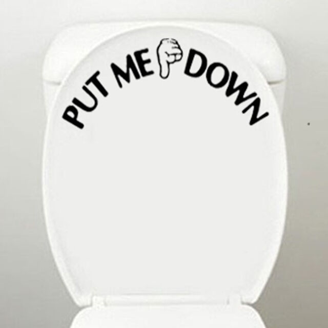 """PUT ME DOWN"" Gesture Hand Art Decal Funny Bathroom Cute Toilet Seat Sticker"