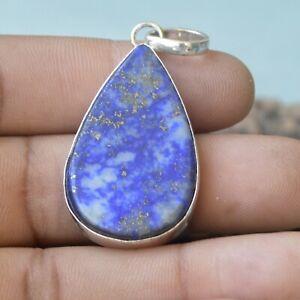 Natural-Pear-Blue-Lapis-Lazuli-Gemstone-925-Sterling-Silver-Artisan-Gift-Pendant