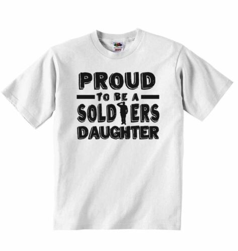 Proud to Be a Soldiers Daughter Personalised Baby T-shirt Tees for Girls
