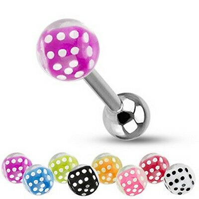 316L Surgical Steel Tongue Barbell with Dice inside Bubble Ball