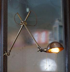 Industrial Vintage style Brass Scissor Articulating Wall Lamp Bedside Lamp