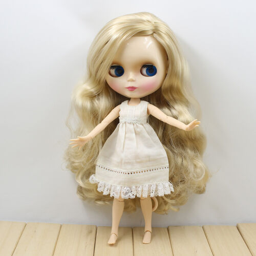 """New 12/"""" Takara Blythe From factory Nude Doll light blonde Long curly Side hair"""
