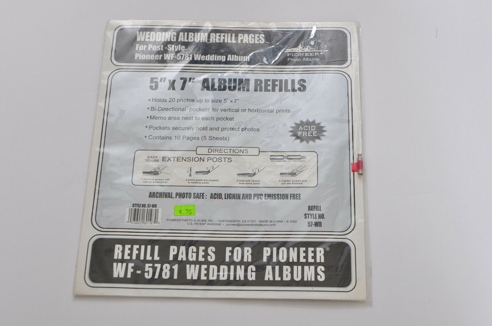 Pioneer 57 Wr 5x7 Refill Pages For Wf 5781 Wedding Album Ebay