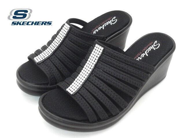 Black Slip on Comfort Wedge Sandals