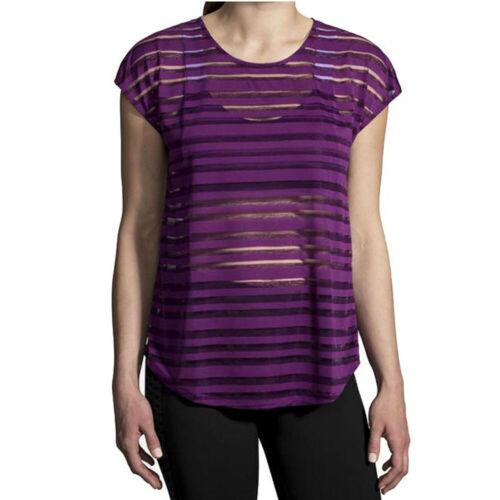 Brooks Womens Hot Shot Running T Shirt Tee Top Purple Sports Breathable