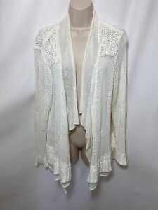 CHICO-039-S-White-Open-Front-Knit-Cardigan-Ruffle-Layer-Sweater-Sz-XL-3