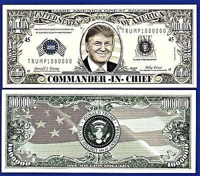 Donald Trump 2016 Presidential Dollar Bill FAKE 10 MONEY NOVELTY President Q1