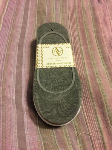 Adrienne Vittadini Ladies 8-Pair Sock Liners Black//Grey//White US Size 5-9.5
