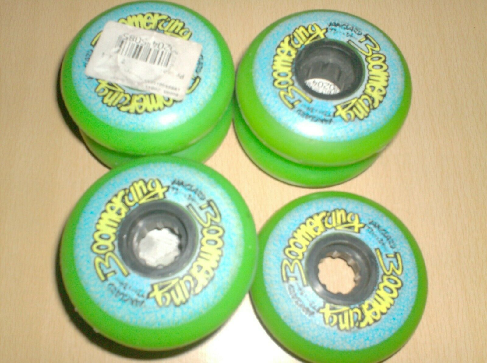 Vintage rollerblade wheels - set of 7 - boomerang vanguard green new nos 1980