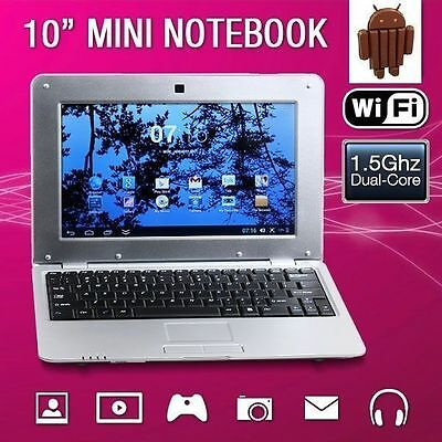 "New 10"" 4GB 1.5Ghz Silver Android 4.4 Mini Notebook Laptop Computer Netbook WIFI"