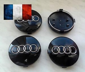4 X RS Alliage 60 mm Moyeu De Roue Centre Caps Set Emblème Top Qualité Noir//Bleu