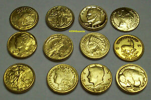 Collection-12-mini-Pieces-OR-Arras-Arrhes-GOLD-Clad-Coins