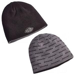 Dickies-Reversible-Printed-Mens-Beanie-Branded-Black-Grey-Hat-HA8015