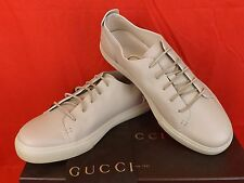 NIB GUCCI MYSTIC WHITE LEATHER LACE UP HYSTERIA PRINT LOGO SNEAKERS 11 12 342038