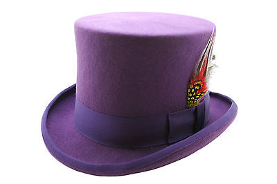 Purple 100% Wool Satin Lined Wedding Event Felt Top Hat With Feather