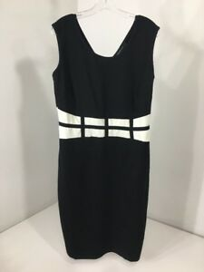 d6c3769f67bdf ASHLEY STEWART WOMEN S GRID WAIST SHEATH DRESS BLACK WHITE SIZE 14 ...