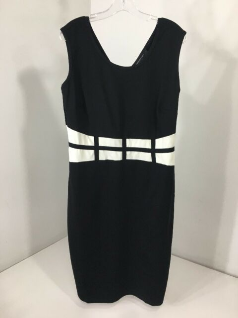 70235cdbe86 ASHLEY STEWART WOMEN S GRID WAIST SHEATH DRESS BLACK WHITE SIZE 14 16 NWT   55