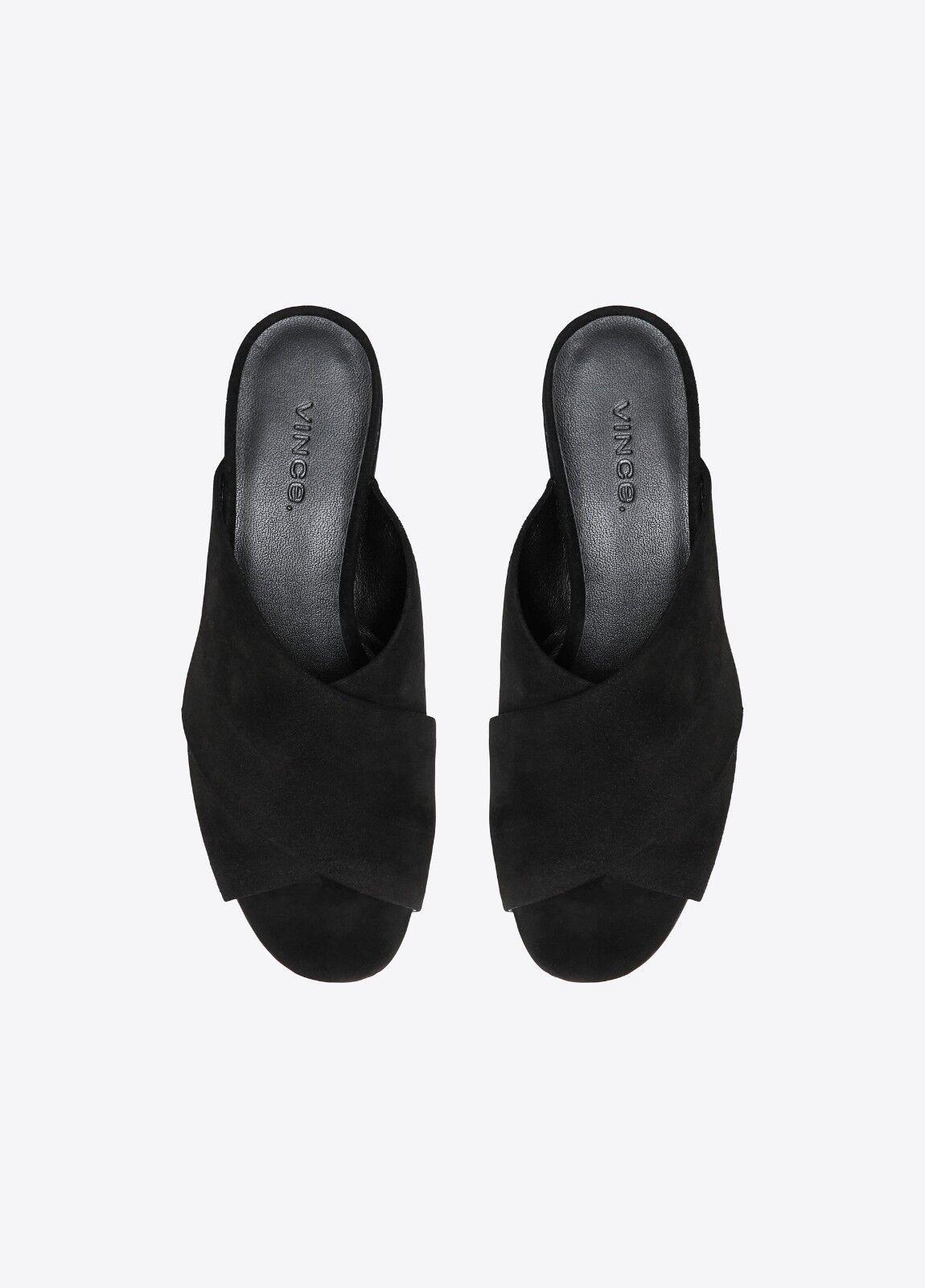 New in Box Vince Karsen italien en cuir et daim Diapositive Sandale Mule Noir Taille 6, 7.5  275
