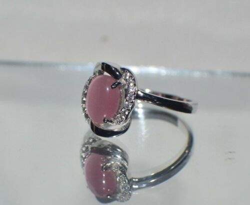 Glamour 1.57 CT NATURAL OPAL oeil chats Platinum Overlay Sterling Silver Ring