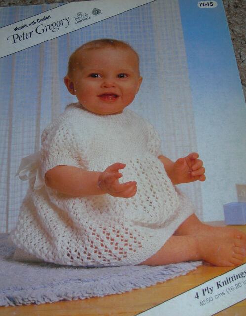 Vintage Peter Gregory Pattern Baby's 4Ply Lacy Patterned  Dress with Bodice 7045