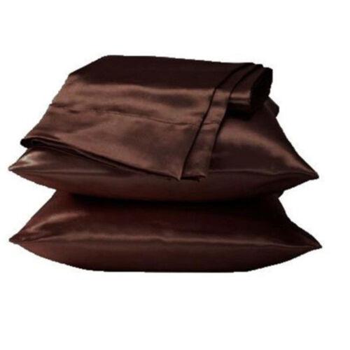 1PCS Solid Satin Seidenbettwäsche Seiden Kopfkissenbezug 48X74cm Mehrfarbig Neu