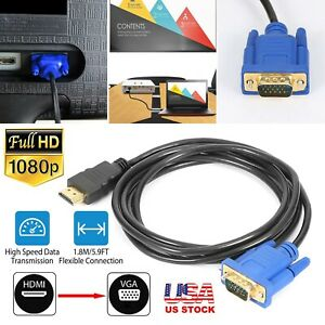HDMI Gold Male To VGA HD-15 Male 15Pin Adapter Cable 6FT 1.8M 1080P AV HDTV