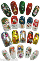 Christmas Nail Art Stickers Nail Water Decals Transfers Bows Santa Bells