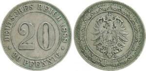 Empire 20 Pfennig 1888 J Very Fine, Patina