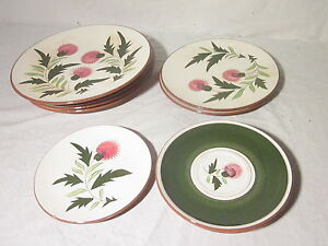Image is loading 1950s-Stangl-Pottery-Thistle-Trenton-N-J-Dinnerware-9- & 1950s Stangl Pottery Thistle Trenton N.J.Dinnerware 9 Pieces ...