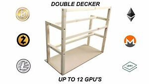 DOUBLE-DECKER-Mining-rig-frame-6-8-10-12-GPU-and-2-PSU-Power-reset-switch