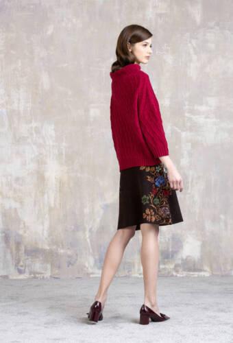 Ivko Rock Jacquard Skirt braunrot oder rot Merino-Wolle Blumenmuster 82531 wool