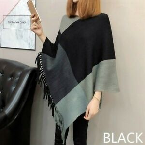 bfe335d97e5 Women Poncho Wrap Cape Shawl Knitted Cloak Batwing Sweater Pullover ...