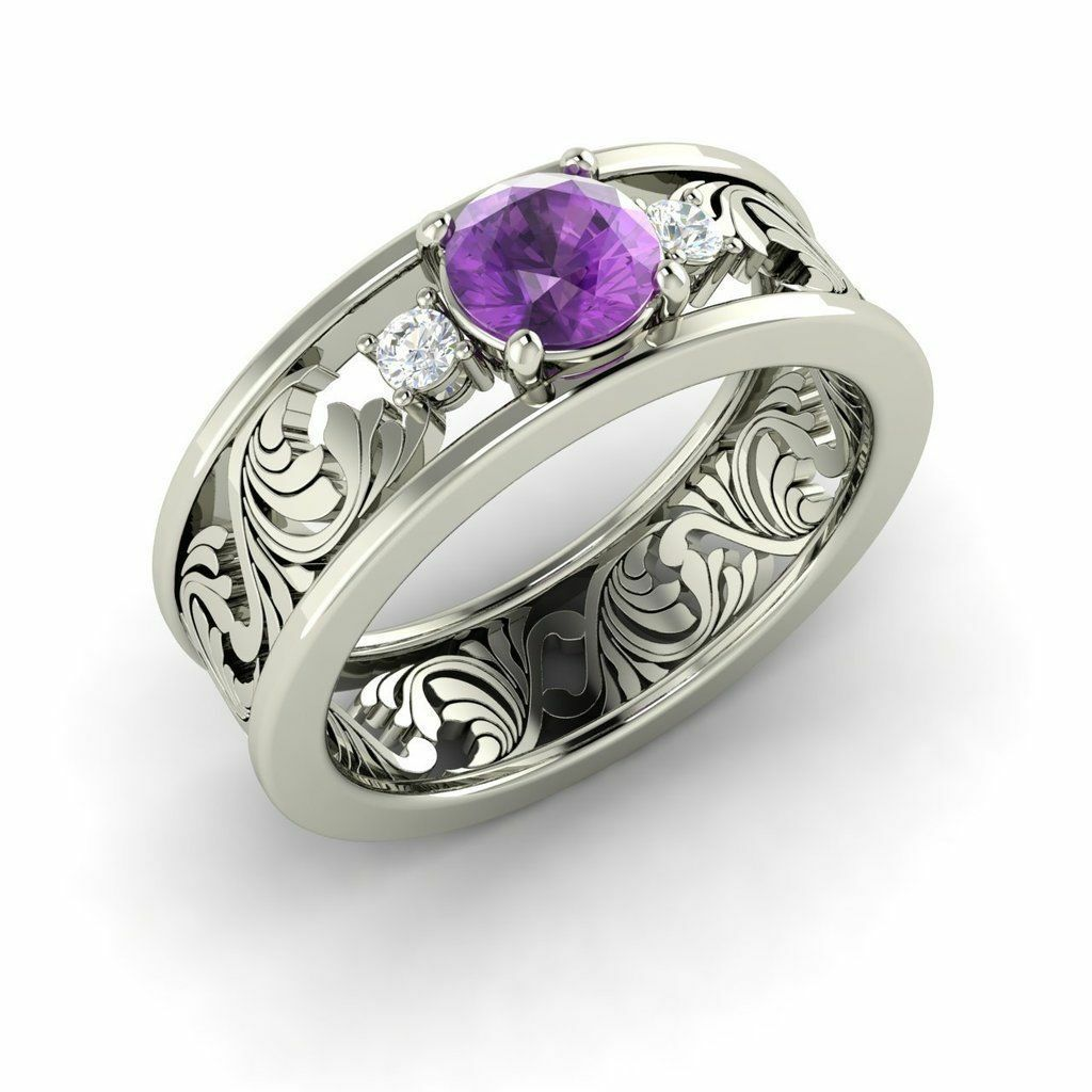 Three Stone Engagement Ring with 0.56 Cttw Amethyst in Solid 14k White gold