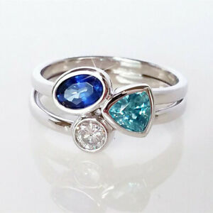 Cute-925-Silver-Wedding-Rings-Women-Aquamarine-amp-Sapphire-Ring-Size-6-10