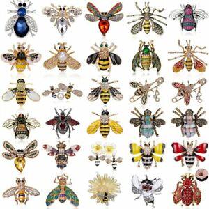 Fashion-Crystal-Enamel-Pearl-Animal-Bee-Women-Brooch-Pin-Costume-Jewelry-Gift