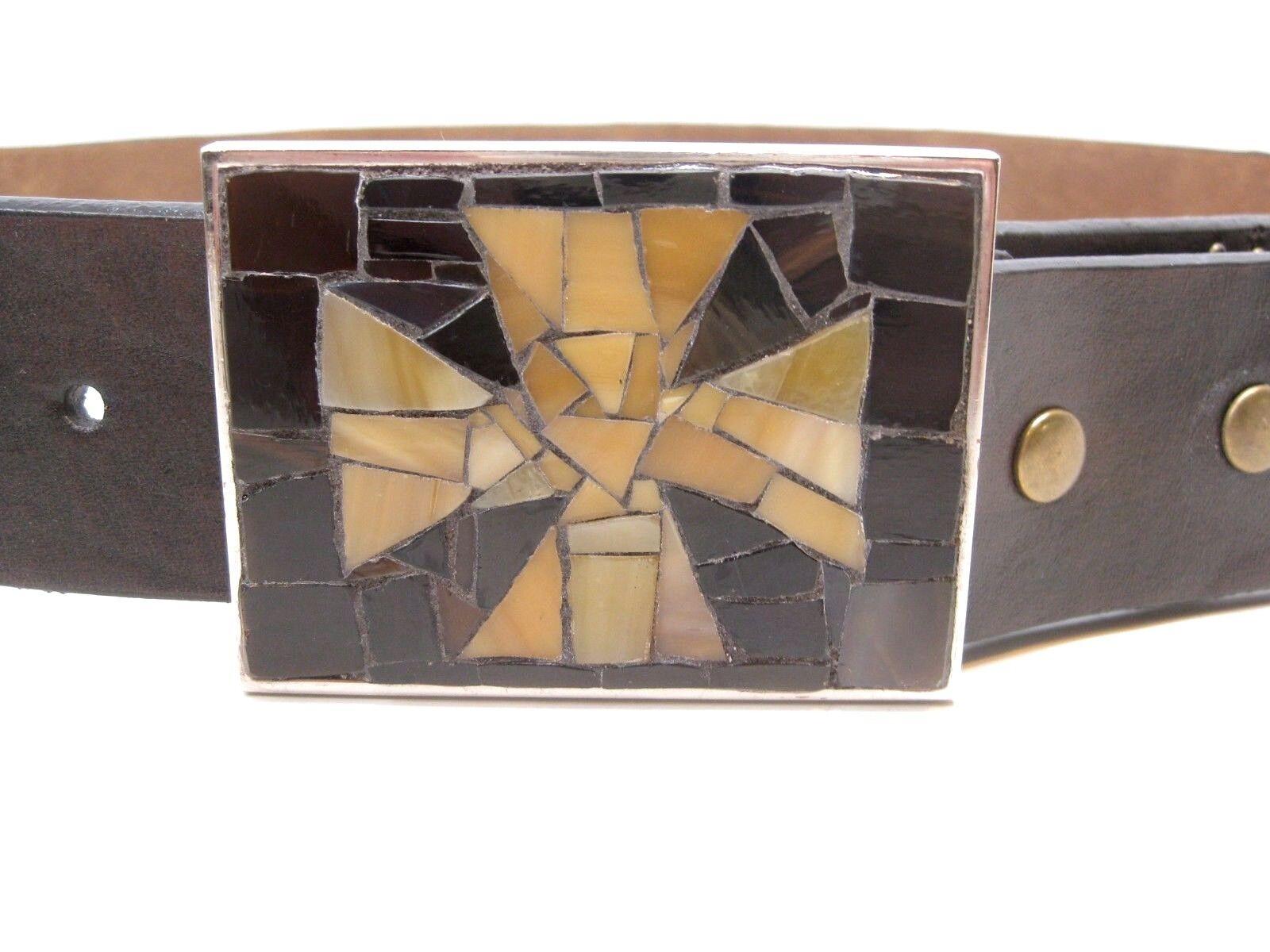 Handmade Ladies Original DOREEN BELL Brown Stone Mosaic Patty Cross Belt Buckle